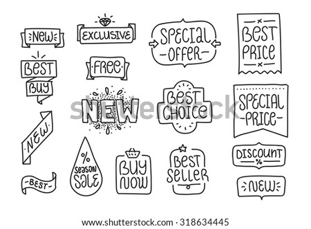 Collection of hand drawn labels and tags. Best choice, special offer, best price, best seller, new, exclusive, buy now, season sale - stock vector