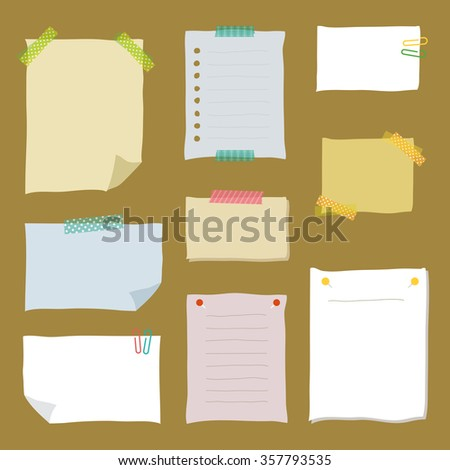 Collection of hand drawn note papers / vector eps 10 illustration - stock vector