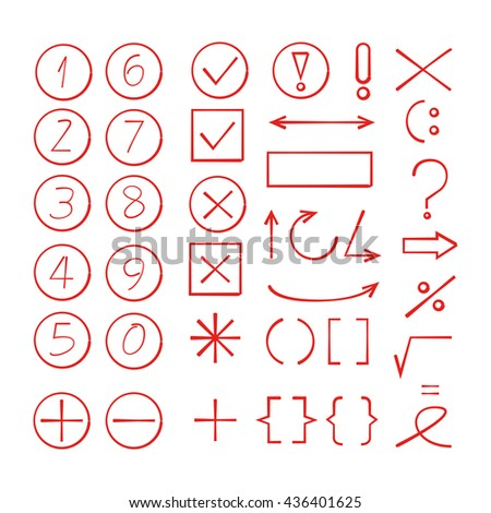 collection of hand drawn number, arrows and math signs icons