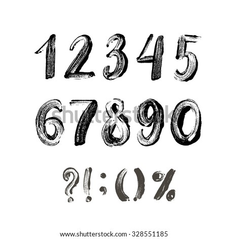 Collection of hand drawn numbers and others elements alphabet. Ink illustration. Isolated on white background. Printed numbers. - stock vector
