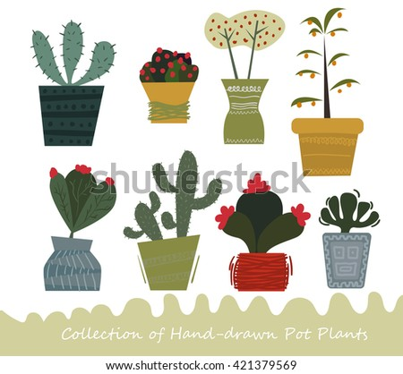 Collection of hand-drawn potted flowers and cactus - stock vector