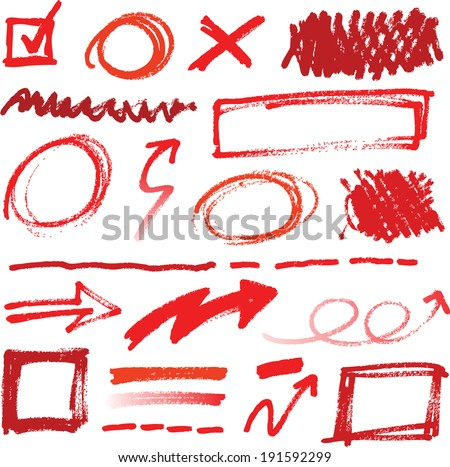 Collection of hand-drawn red pencil corrections elements - stock vector