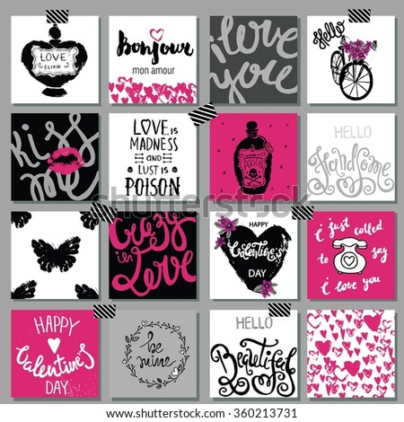 Collection of hand drawn romantic and love cards. Valentine's Day backgrounds. - stock vector