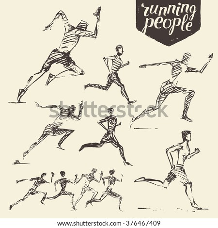 Collection of hand drawn running man. Healthy lifestyle. Vector illustration, sketch - stock vector