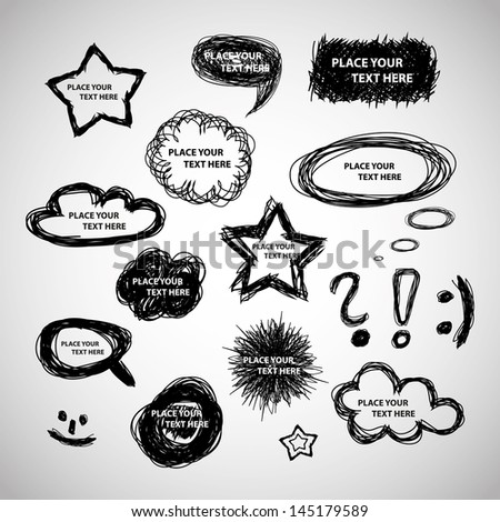 Collection of Hand Drawn Speech And Thought Bubbles - stock vector