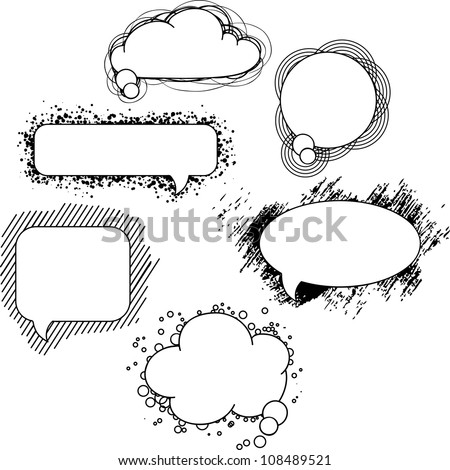 Collection of hand drawn speech bubbles and dialog balloons - stock vector