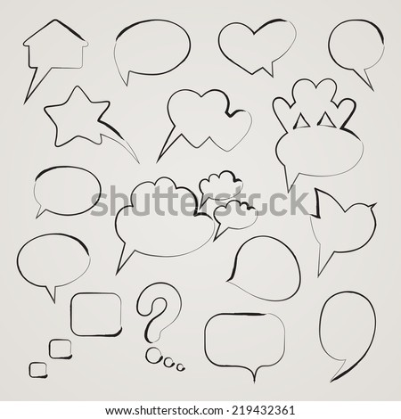 Collection of hand drawn speech bubbles. Vector illustration. - stock vector