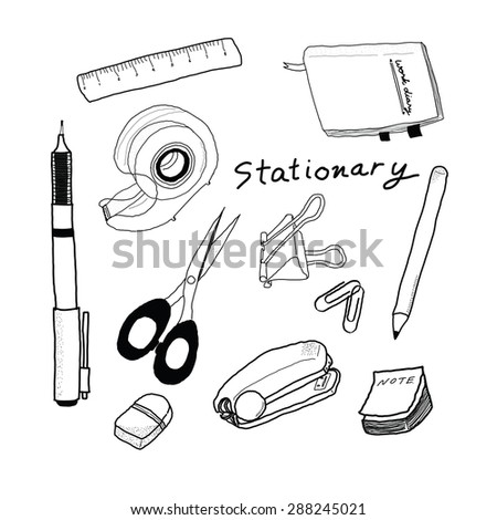 Collection of hand-drawn stationery set items