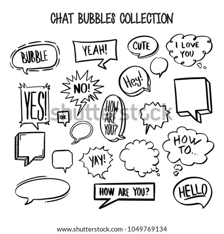 Collection hand drawn think talk speech stock vector 2018 collection of hand drawn think and talk speech bubbles message greetings doodle style comic balloon m4hsunfo