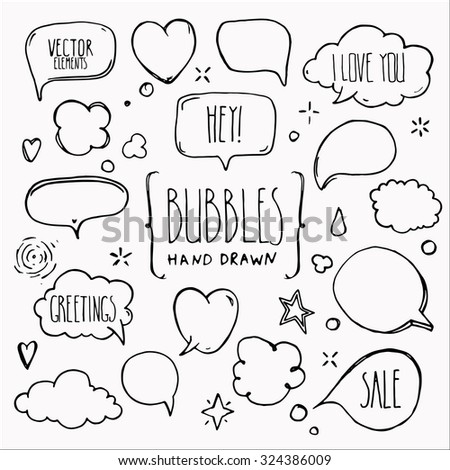 Collection of hand drawn think and talk speech bubbles with love message, greetings and sale ad. Doodle style comic design elements. Isolated vector.  - stock vector