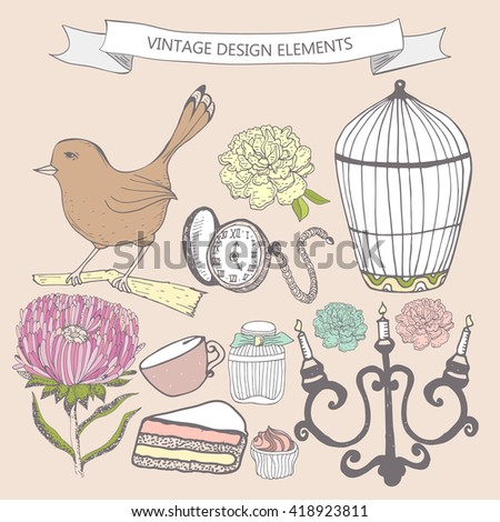 Collection of hand drawn vintage items. Perfume bottle, aster, cake, cage bird, pocket watch, candlestick. Elements can be used separately or for  greeting card, invitation in retro style, etc.
