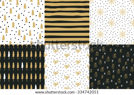 Collection of hand drawn winter holidays seamless patterns with Christmas trees, stripes, snowflakes, bows, gift boxes and Polka dots. - stock vector