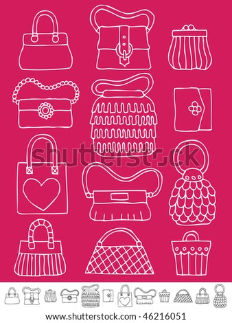 collection of hand drawn womens handbags and purses on pink - stock vector
