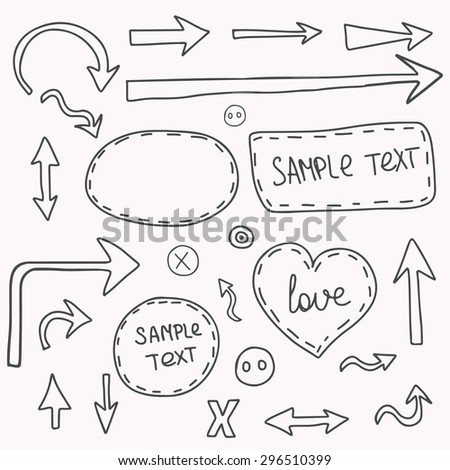 Collection of hand grunge arrows and templates for text. Drawing arrows in the old style. Vector illustration for your design. Color can be changed in one click.