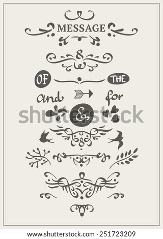 collection of hand-sketched calligraphic elements - stock vector