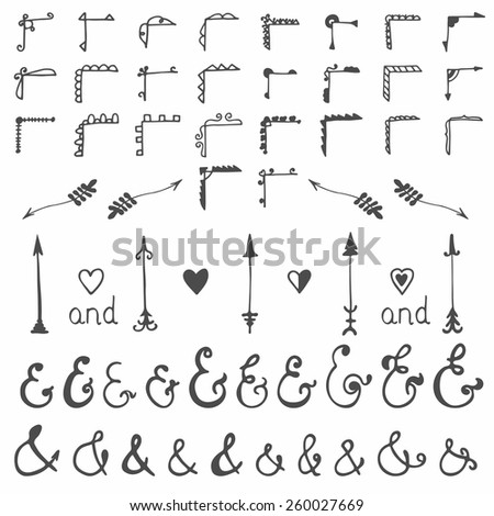 Collection of hand-sketched elements - calligraphic elements, arrows, ampersands and hearts. Hand drawn design elements. Vector illustration - stock vector