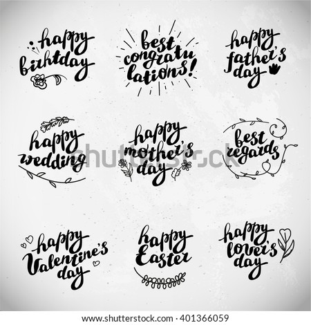 Collection of hand written congratulations. Hand drawn font, text message, lettering. Holiday, congratulation card. Mother's father's valentine's day. Birthday party, wedding, anniversary invitation.  - stock vector