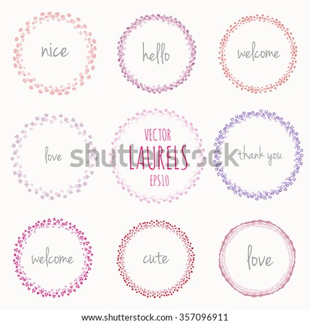 Collection of handdrawn laurels and round wreaths Romantic wreath with copyspace for your text Hand drawing sketchy wreath Save the date, wedding or invitation card design elements Nice pastel colors - stock vector