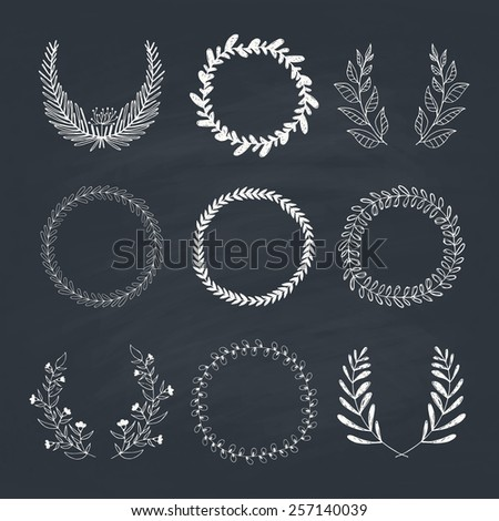 Collection of handdrawn laurels and wreaths. Floral wreath with copyspace for your text. Save the date, wedding or invitation card design element. Valentine�¢??s card design template.  - stock vector
