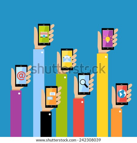 Collection of hands using mobile smartphone with business applications and social media content isolated vector illustration. - stock vector