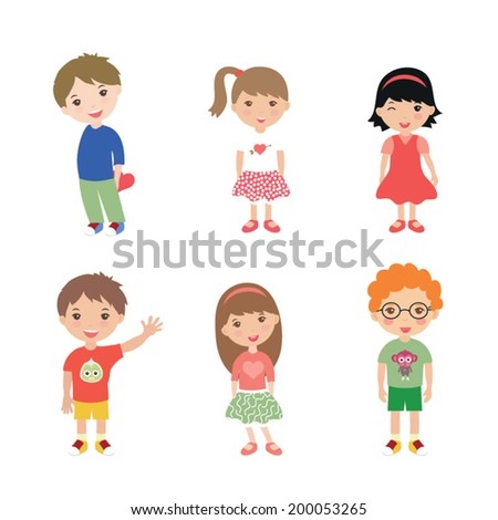 Collection of happy children isolated on white background