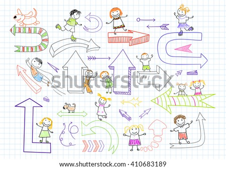 Collection of happy children with arrows. Sketch on notebook page in doodle style - stock vector