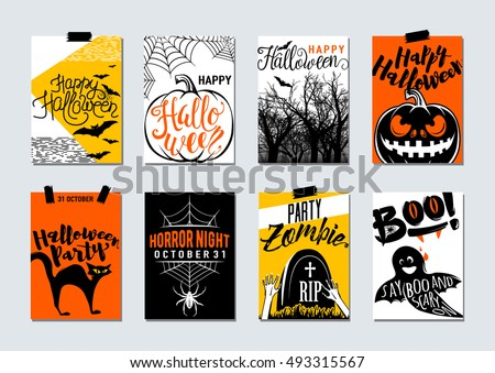 Collection Of Happy Halloween And Party Typography Flyer Poster Card Banner  Template With Lettering, Zombie