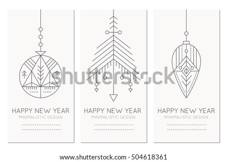 New Year Greeting Card Template Hanging Stock Vector