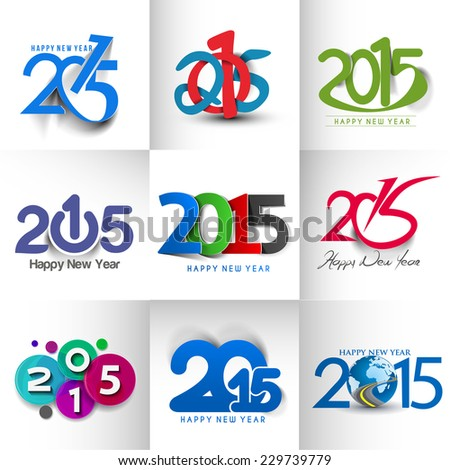 Collection of Happy new year 2015 Text Design  - stock vector