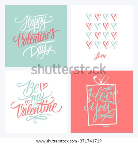 Collection of Happy Valentines day greeting cards. Handwritten inscription. Set of hand drawn card design. Holiday cards in pink and blue colors. Vector illustration. - stock vector