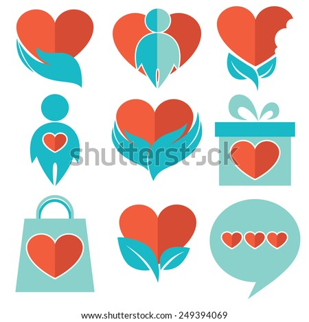 collection of hearts, people symbols and icons - stock vector