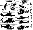 collection of helicopter vector - stock vector