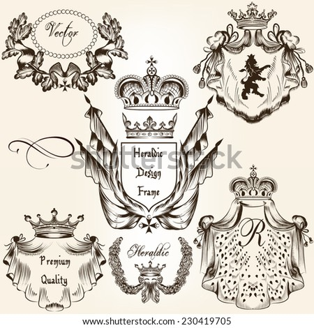 Collection of heraldic shield in vintage style for design - stock vector