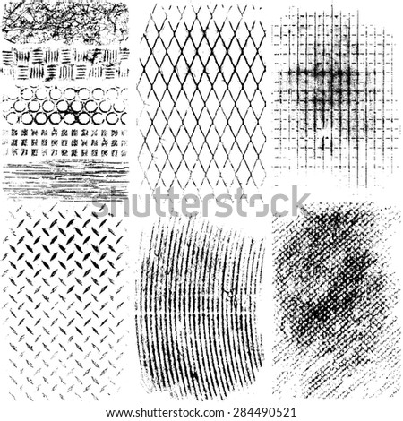 Collection of high detail Vector Grunge Textures materials - stock vector