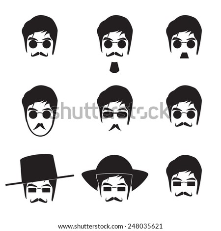 Collection of Hipster man icon vector in monochrome - stock vector