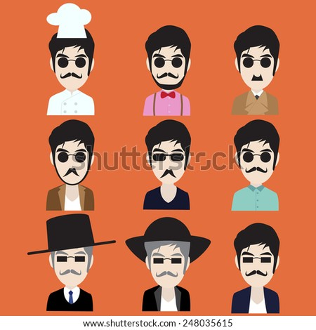 Collection of Hipster man in many style - stock vector