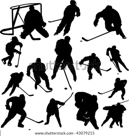 collection of hockey vector - stock vector