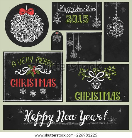 Collection of holiday drawing on chalkboard, hand-drawn Christmas illustration in vintage style. - stock vector