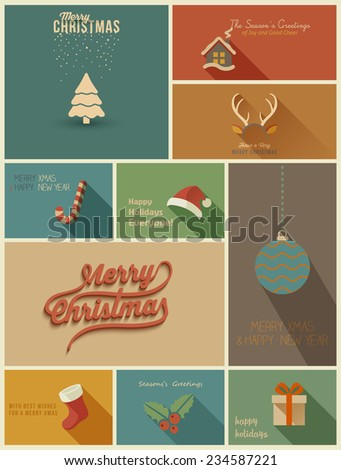 Collection of Holidays cards. Vector Illustration - stock vector