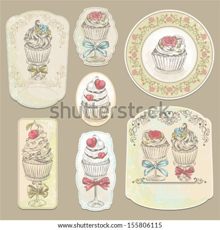 Collection of holidays vintage labels with cupcakes, vector illustration. - stock vector