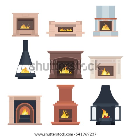fireplaces at home collection home different fireplaces paste interior stock vector