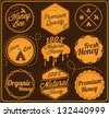 Collection of Honey and Bee Labels in Retro Style - stock photo