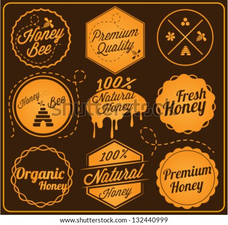 Collection of Honey and Bee Labels in Retro Style - stock vector