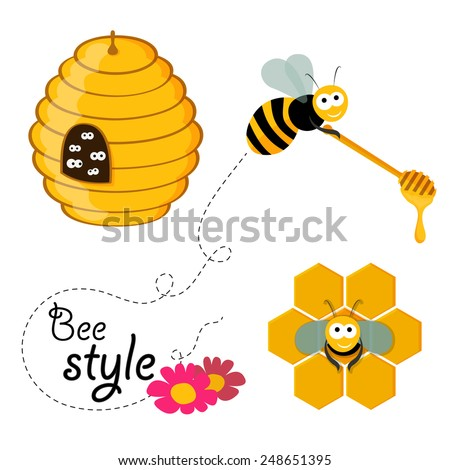 Collection of honey related graphics consisting of a bee, honey spoon, beehive and honeycomb in flat design - stock vector
