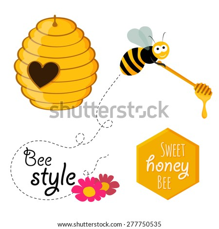 Collection of honey related graphics consisting of a bee, honey spoon, beehive with heart-shaped entrance and honeycomb hexagon with slogan in flat design - stock vector