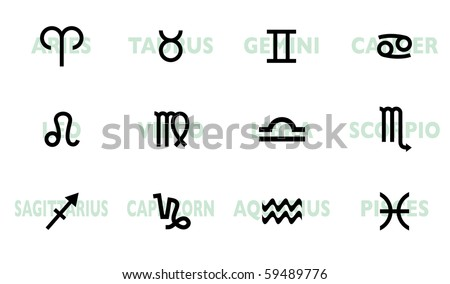 collection of horoscope signs and symbols with names - stock vector