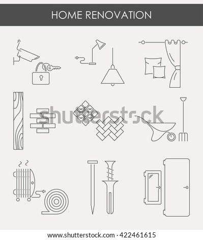 Collection of house repair icons, including electric, plumbing tools. Modern line style labels of house remodel gear and elements. Building, construction graphic design. Repair tools. - stock vector
