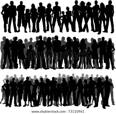 Collection of huge crowds of people - each silhouette is separate and can be used individually - stock vector