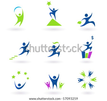 Collection of human business, success and money icons - blue - stock vector
