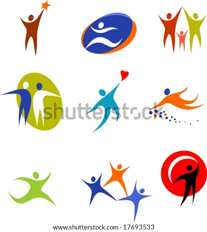 collection of human icons - stock vector